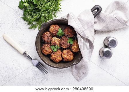 Homemade Beef Meatballs In Frypan On White Background