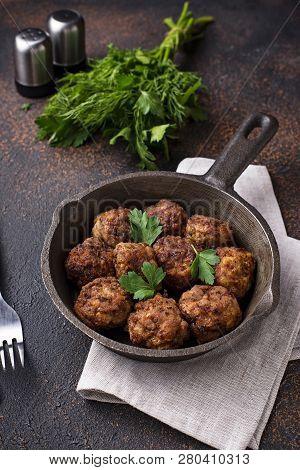 Homemade Beef Meatballs In Frypan. Top View