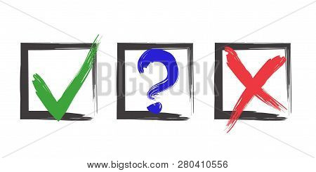 Blue Question, Red X And Green Tick Check Marks, Approval Signs Design. Red X And Green Ok Symbol Ic