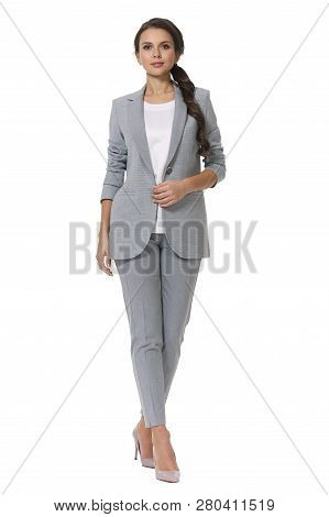 Young Caucasian Business Woman Executive Posing In Checked Official Blue Pantsuit High Heels Shoes F