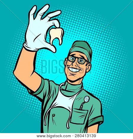 Joyful Dentist Man. Torn Tooth. Comic Cartoon Pop Art Retro Vector Illustration Drawing