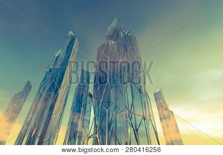 Science fiction futuristic architecture against green cloudy sky. Glass and steel structure buildings. Illustration. 3D rendering.