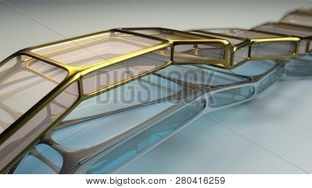 Glass and metal abstract structure. Science fiction futuristic technology concept. Illustration. Depth of field settings. 3D rendering.