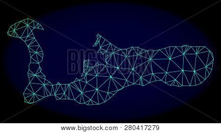 Polygonal Vector Mesh Map Of Grand Cayman Island. Connected Lines, Triangles And Points Forms Abstra