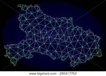 Polygonal Vector Mesh Map Of Hubei Province. Connected Lines, Triangles And Points Forms Abstract Ma