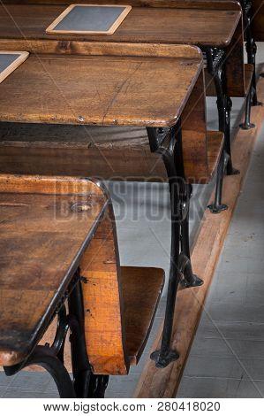 Wooden School Desks - Bolted Onto Wood Runner