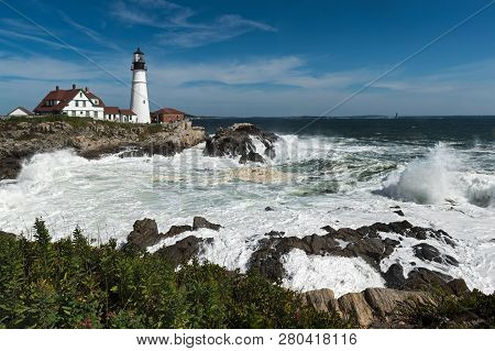 Portland Head Lighthouse With Ram Island Ledge Light Station In Background - Cape Elizabeth, Maine,
