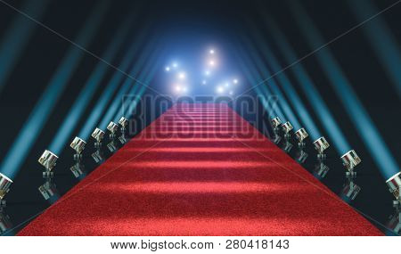 red carpet and lights 3d rendering image