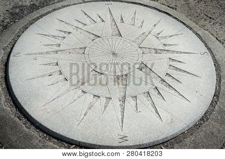 Concrete Compass Rose West To East In Ground