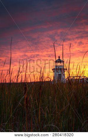 Doubling Point Lighthouse Dramatic Sunset - Arrowsic Island, Kennebec River, Maine, Usa