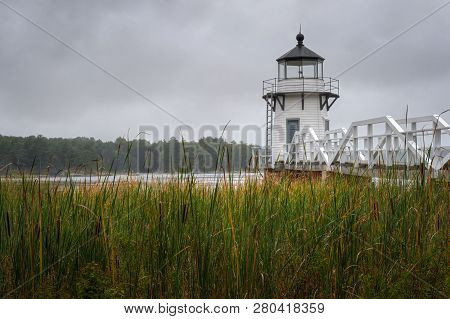 Doubling Point Lighthouse Over Cattail Stand - Arrowsic Island, Kennebec River, Maine, Usa