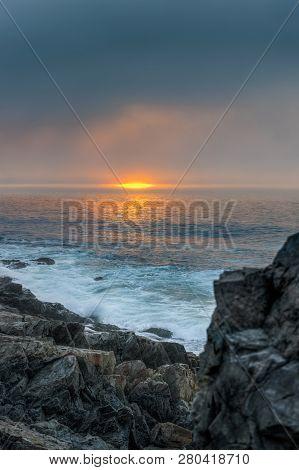 Sunrise Over The Atlantic Ocean - Acadia National Park, Maine, Usa