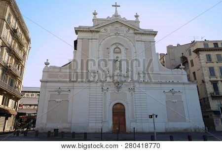 The Frontage Of The Ancient Church Saint Ferreol , Marseille , South France