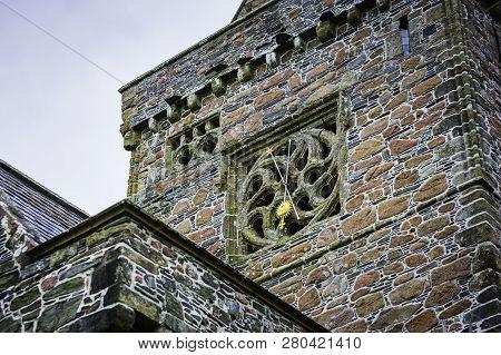Clock Detail On Iona Abbey On Isle Of Iona Scotland