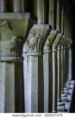 Bird Detail From Vertical Column In Iona Abbey Courtyard