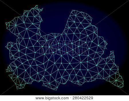 Polygonal Vector Mesh Map Of Utrecht Province. Connected Lines, Triangles And Points Forms Abstract
