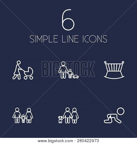 Set Of 6 Relatives Icons Line Style Set. Collection Of Perambulator, Cot, Creep Baby And Other Eleme