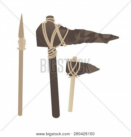 Vector Stone Age Primitive Tools, Axe Hummer Spear