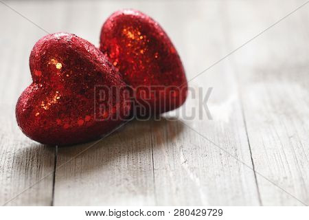 Close Up Photo Of Valentine Hearts On A Wooden Background