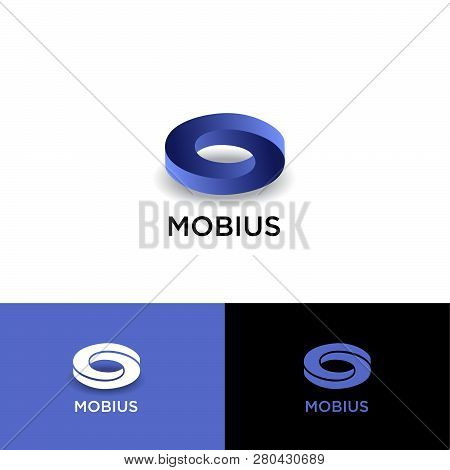Mobius Logo. Impossible Geometric Shape With Shadow On A Different Backgrounds. Ui, Web Icon. Monoch
