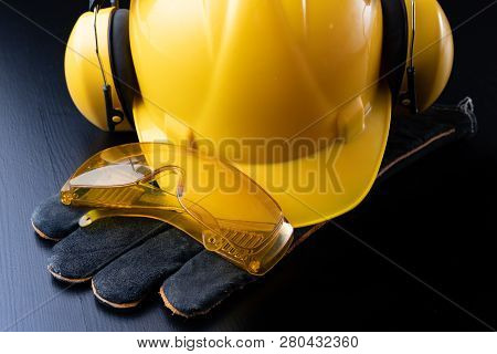 Helmet And Accessories For Construction Workers. Accessories Needed For Work On The Construction Sit