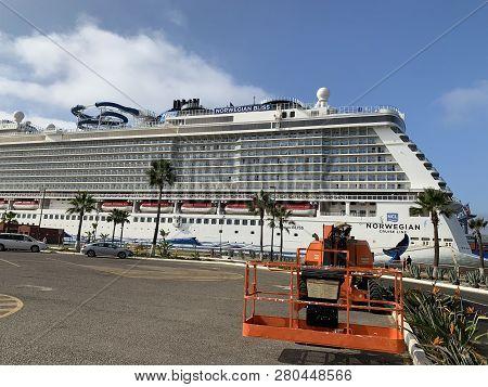 Ensenada, Mexico - Oct 25: Norwegian Bliss Cruise Ship, Docked In Ensenada, Mexico, As Seen On Oct 2