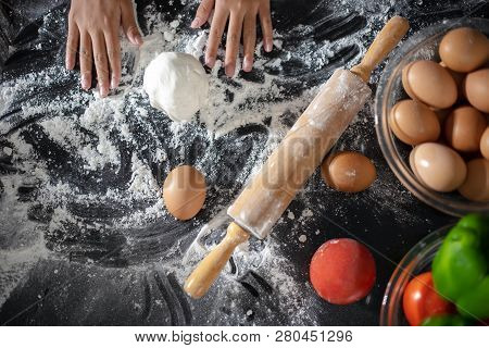 Closeup Of  Dough/ Wooden Rolling Pin, Sprinkle With Flour As Prepares Delicious Pizza, Going To Mak