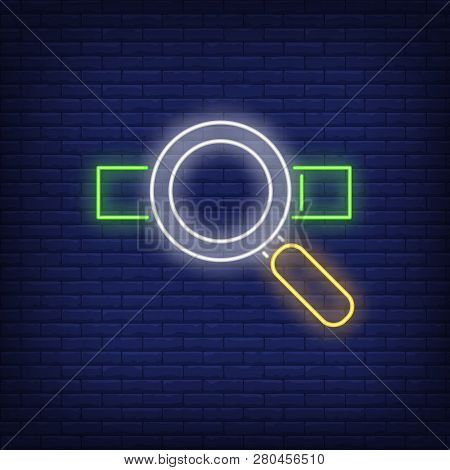 Loupe And Address Bar Neon Sign. User Interface Search Icons Design. Night Bright Neon Sign, Colorfu