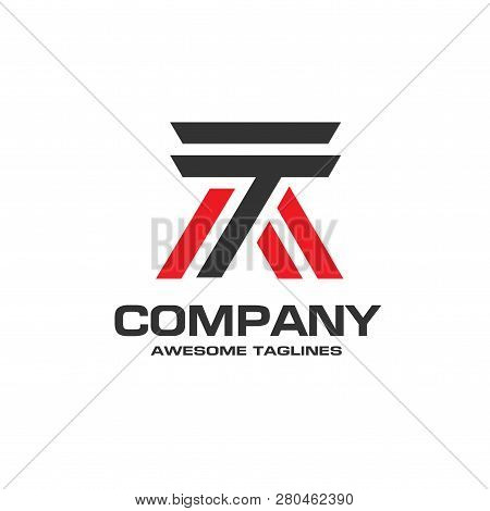 Creative Strong Initial Letter A Logo Vector Concept, Letter T Strong Logo Vector Illustration Templ