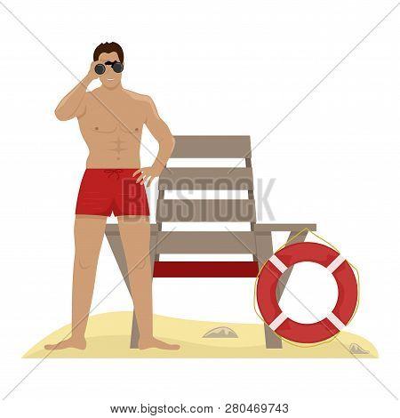 Lifeguard With Binoculars. Lifeguard Chair Life Preserver. Flat Vector Illustration.