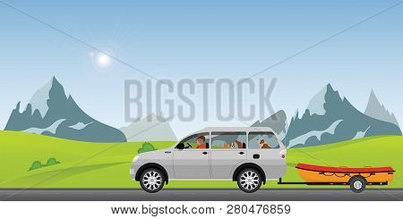 Boat Towing Car On Road Running Along On A Sunny Spring Day In The Holiday, Family Vacation Travel,