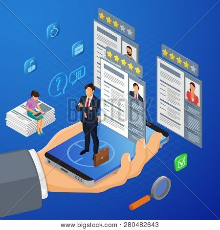 Online Isometric Employment, Recruitment And Hiring Concept. Internet Job Agency Human Resources. Ha