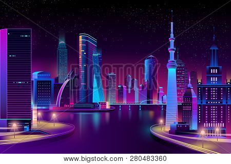 Vector Modern Megapolis On River At Night. Contemporary Architecture - Bright Glowing Buildings, Boa