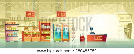 Vector Background Of Empty Supermarket At Morning, Lines With Merchandise. Place For Retail, Mall In