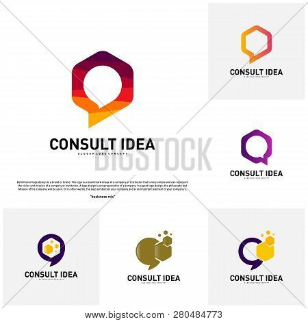 Set Of Modern Hexagon Business Consulting Agency Logo Template. Simple Digital Chat Logo Concept