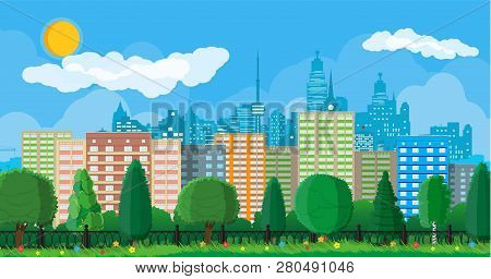 City Park Concept. Urban Forest Panorama With Fence. Cityscape With Buildings And Trees. Sky With Cl