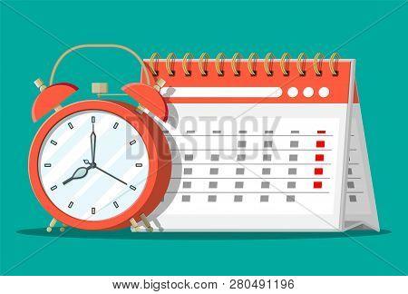 Paper Spiral Wall Calendar And Clocks. Calendar And Alarm Clocks. Schedule, Appointment, Organizer,