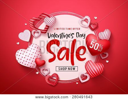 Valentines Day Sale Vector Banner. Valentines Day Sale Promotion Text With Hearts Elements And White