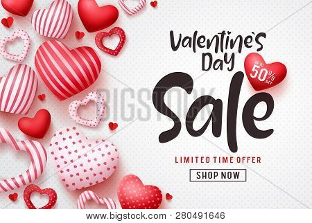 Valentines Day Sale Vector Banner Template. Valentines Day Sale Discount Text With Hearts Elements I