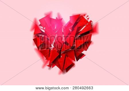 Broken Heart On A Pink Background, Vector Illustration.