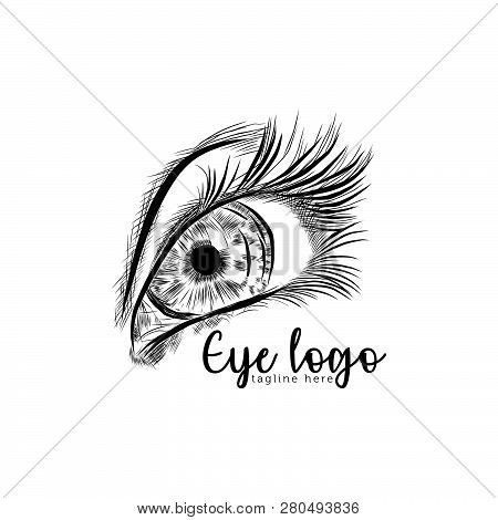 Eye On White Background. Eyes Art. Woman Eye. The Eye Logo. Eyes Art. Human Eye, Eye Close Up - Vect