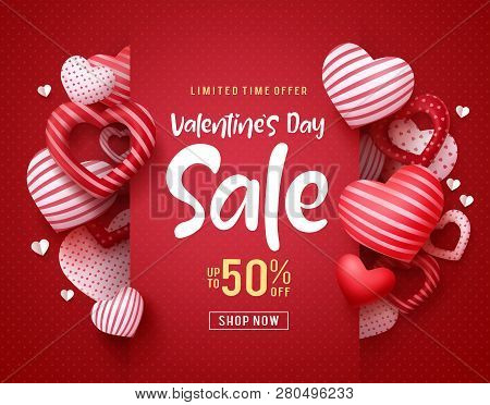 Valentines Day Sale Vector Banner. Sale Discount Text For Valentines Day Shopping Promotion With Hea