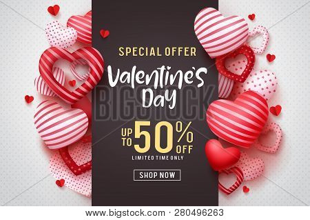 Valentines Day Vector Promotional Banner. Special Offer Text With Red Hearts Elements In White Backg