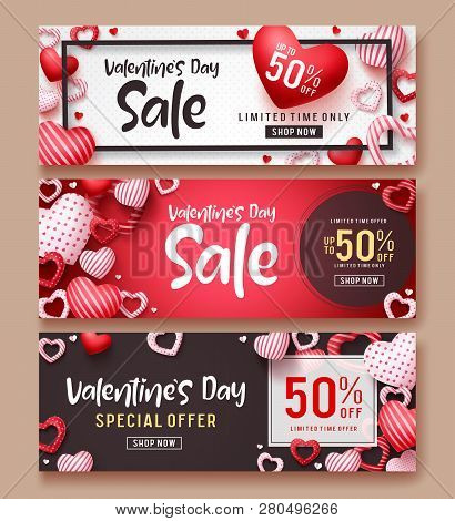 Valentines Day Sale Vector Banner Template Set. Valentines Day Sale Text With Hearts Elements In Red