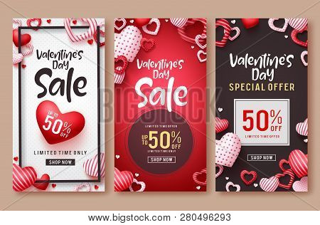 Valentines Day Sale Vector Poster Template Set. Valentines Day Sale Text With Hearts Elements In Red