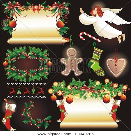 Christmas collection. Vector Illustration.