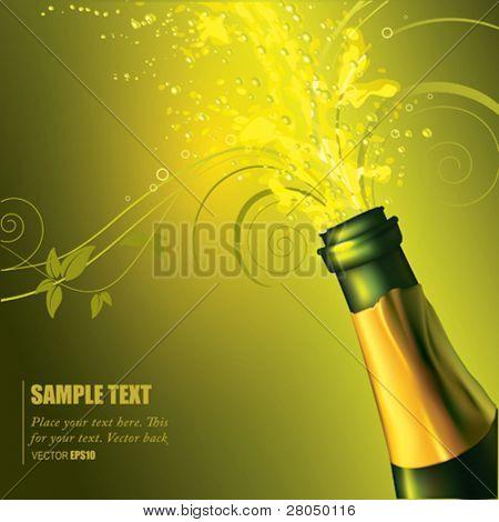 Vector Champagne bottle popping