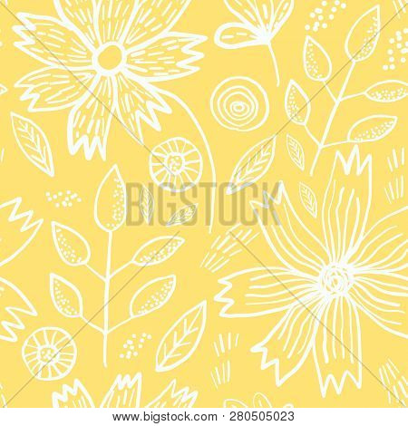 Tender Yellow Spring Outline Hand Drawn Floral Seamless Pattern. Romantic White Meadow Flowers, Leav