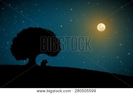Lovers Under Tree On Moonlit Night. Vector Illustration With Silhouette Of Loving Couple. Full Moon