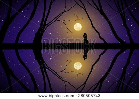 Lovers Among Trees On Moonlit Night. Vector Illustration With Silhouette Of Loving Couple. Full Moon